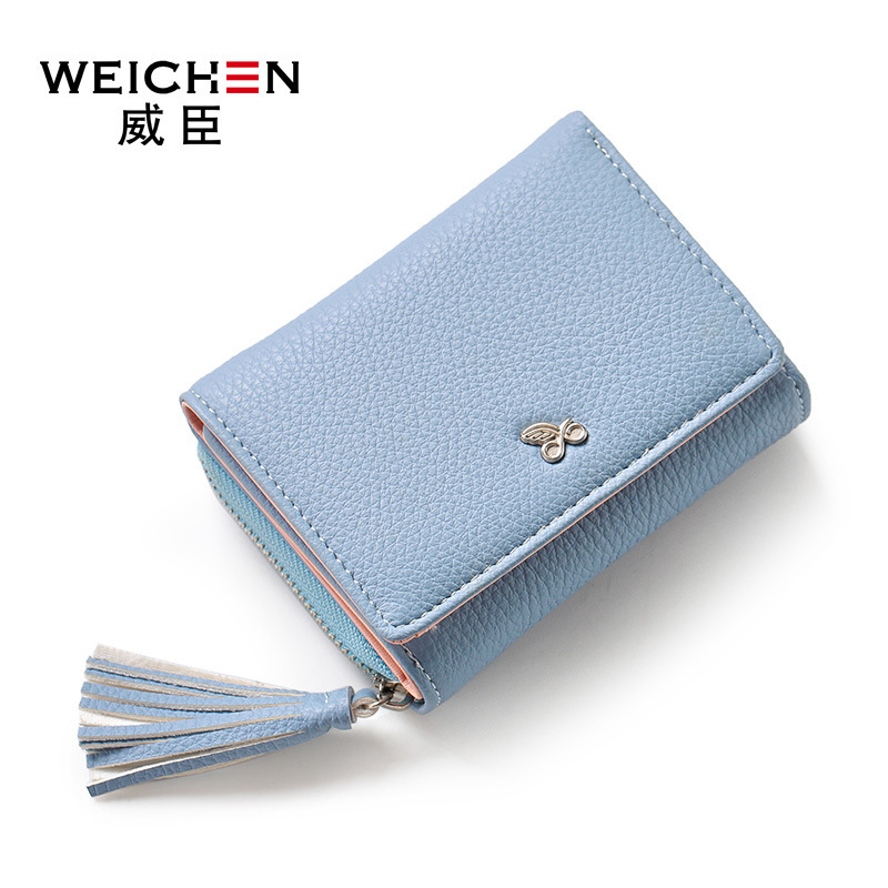2018 WEICHEN helt ny PU läder dam kort plånbok färska liten kvinna handväska mini dragkedja Hasp kvinnor notecase PR08577-2