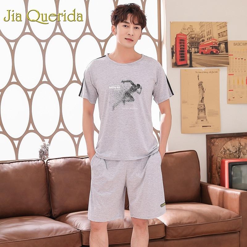 Steady J&q Sleepwear Mens Home Suit Male 2019 Summer Fashion Solid Grey 100% Cotton Mens Sleepwear 2pcs Pullover Shorts Pijama Set Underwear & Sleepwears