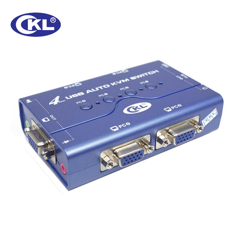 CKL-74UA Mini 4Port USB Auto VGA KVM Switch Support Audio Microphone Switcher for PC Monitor Keyboard Mouse with Original Cables new usb 2 0 kvm 4 port svga vga keyboard mouse switch box monitor sharing wholesale