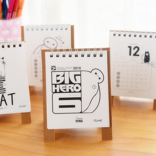 mini table calendar 2016 cute cat baymax desk calendars agenda