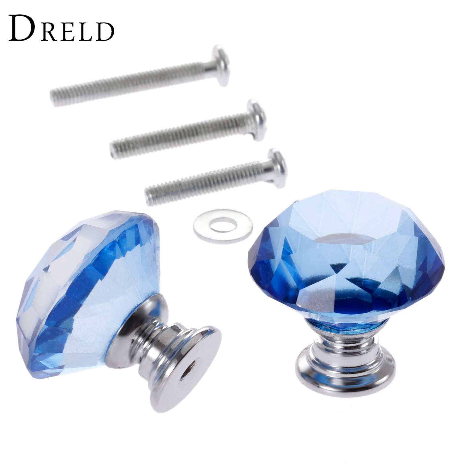 DRELD 2Pcs 30mm Diamond Crystal Drawer Pulls Glass Door Cabinet Wardrobe Pull Knobs Blue Furniture Handles + 6Pcs Screws 10 pcs 30mm diamond shape crystal glass drawer cabinet knobs and pull handles kitchen door wardrobe hardware accessories
