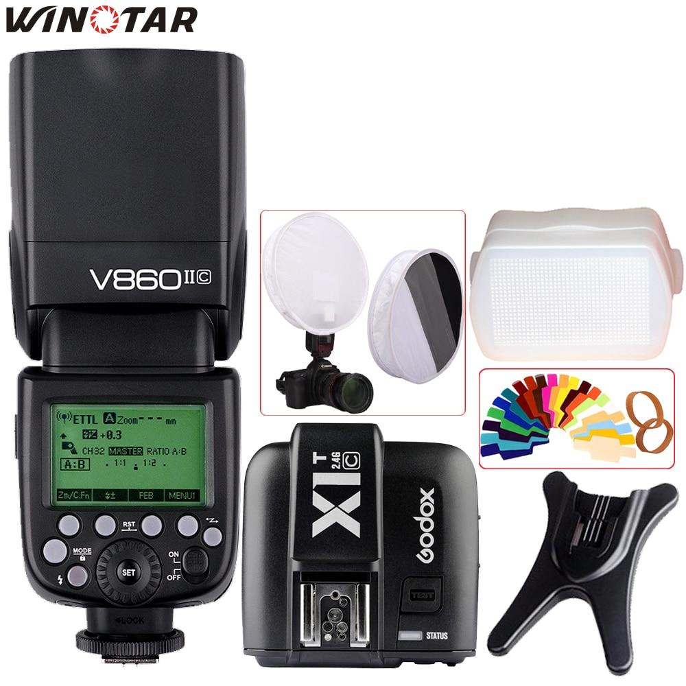 Godox Ving V860II V860II-C/N/S/O/F TTL HSS 1/8000 Speedlite Flash + X1T Transmitter for Canon Nikon Sony Olympus Panasonic Fuji