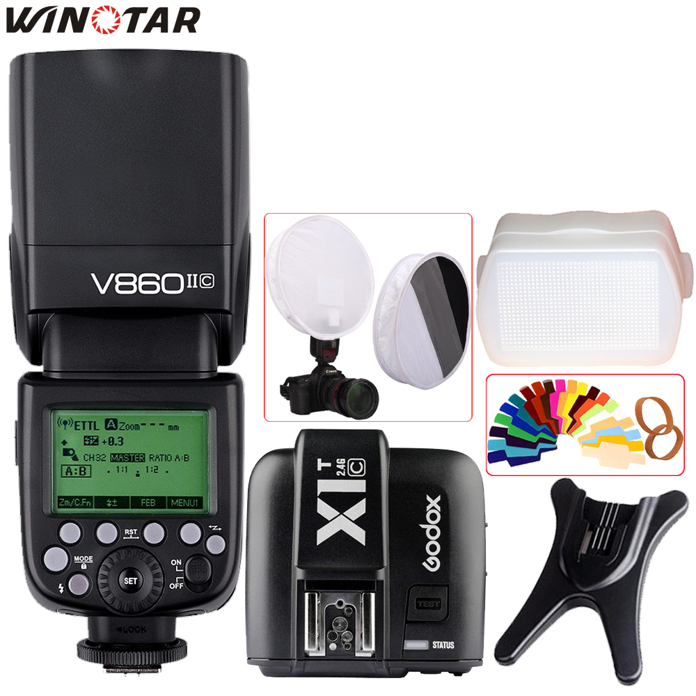 Godox Ving V860II V860II-C/N/S/O/F TTL HSS 1/8000 Speedlite Flash + X1T Émetteur pour Canon Nikon Sony Olympus Panasonic Fuji