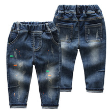 DIIMUU Fashion Child Boys Girls Jeans Denim Pants Casual Printing Holed Light Washed Outdoor Long Trousers Fit 2-6 Years
