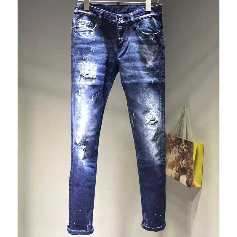 Vita Donna Casual Blu Dell'annata Fashion Foro Delle Skinny Slim Matita Nuovo Femminili Denim Di Strappati Metà Ragazze Jeans Pantaloni FYwdxfq