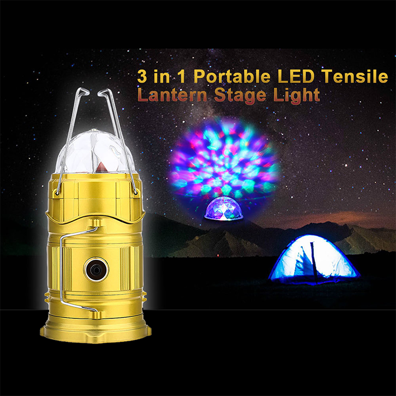 3 In 1 Portable LED Tensile Camping Lantern Stage Light EU Plug Portable  Outdoor Camping Light