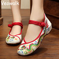 Veowalk Big Size Fashion Woman Shoes Chinese Old Beijing Mary Jane Flats Dragon Embroidered Shoes Soft Sole Casual zapatos mujer