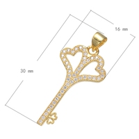 2017 New Lady's Micro Pave Zircon Cz Pave Flower Key Pendant Chain Choker Necklace for Women 45cm Long Wedding Christmas Gifts
