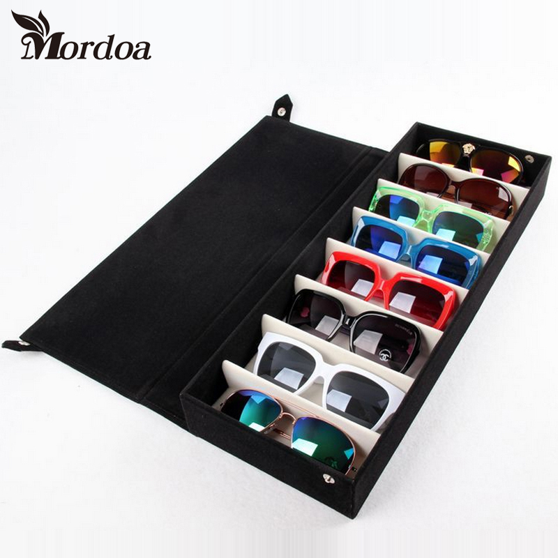 2017 New 8 Grids Storage Display Grid Case Box For Eyeglass Sunglass Glasses Jewelry Showing Case With Rack Cove 48.5x18x6CM