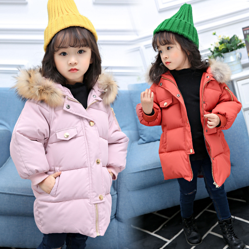 Hot sell 2017 Fashion Medium long Winter Coat for Girls Children Clothing Big Girls Pure Color Cotton padded Jacket with Fur Hoo