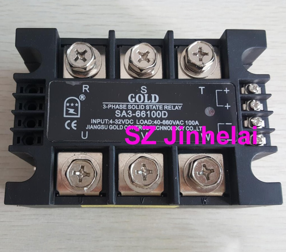 Authentic original SA366100D (SA3-66100D) GOLD SSR 3-phase DC control AC SOLID STATE RELAY 100A sa366250d sa3 66250d gold authentic original ssr 3 phase dc control ac solid state relay 250a
