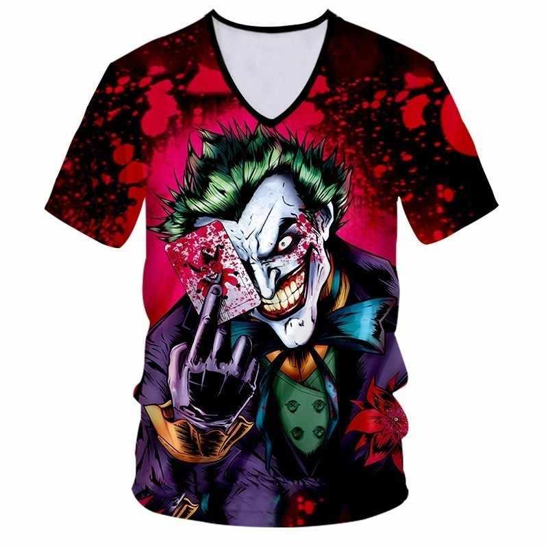OGKB футболка с v-образным вырезом для женщин/мужская футболка с крутым принтом Джокер Отряд Самоубийц 3D футболка унисекс Хип-Хоп Уличная панк стиль Фитнес Футболка