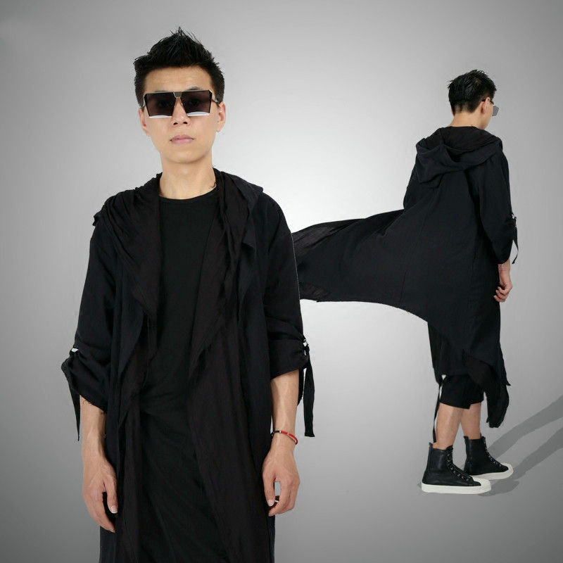 New 2019 Men's fashion Original long cardigan windbreaker cloak loose linen robe personality handsome hooded double coat