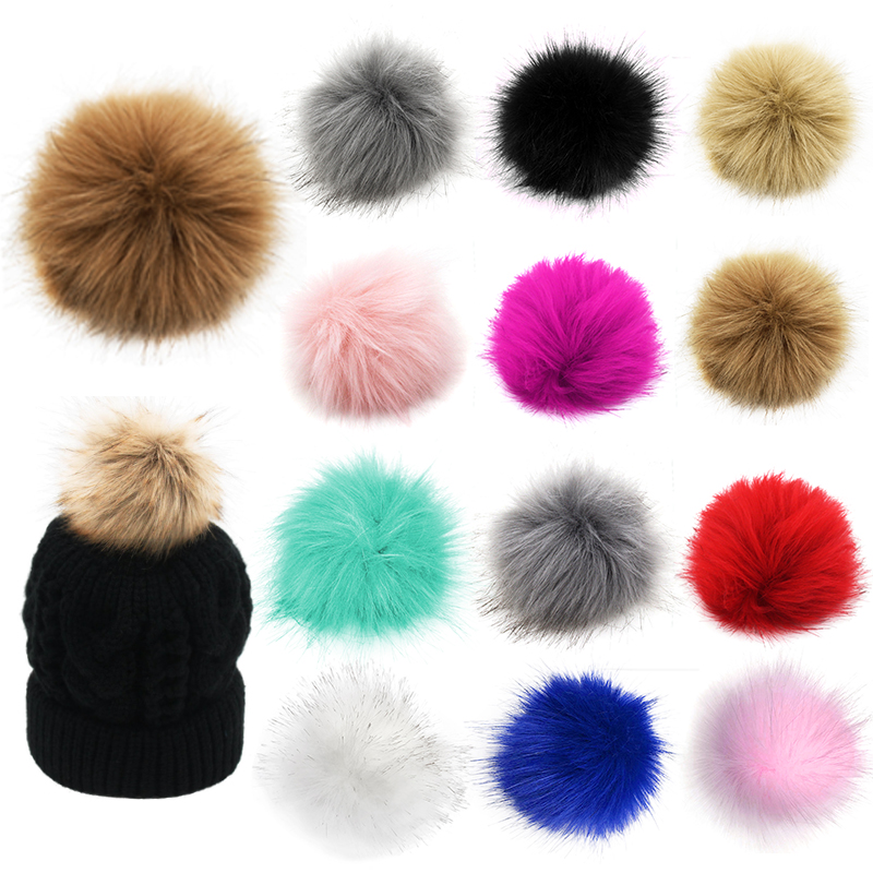 12Pcs DIY Pom Pom Fur Balls Faux Fox Fur Fluffy Beanie Hat Accessories Multicolor Cap Pompom HairBall Women Men Keychain HandBag