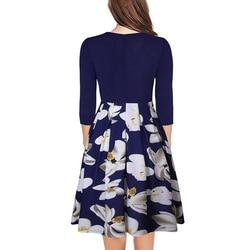 Różowa elegancka sukienka dla kobiet biuro sukienka trzy czwarte rękawem wiosna jesień kwiatowy wydrukowano huśtawka sukienki praca szata longue 4