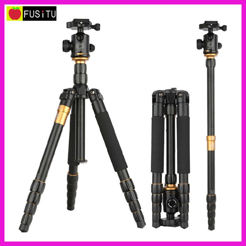 QZSD Q-666 Professional Portable Aluminum Alloy Camera Tripod Monopod with Q02 Ball Head for Travel Canon Nikon dhl free 2017 new professional tripod qzsd q999 aluminium alloy camera video tripod monopod for canon nikon sony dslr cameras