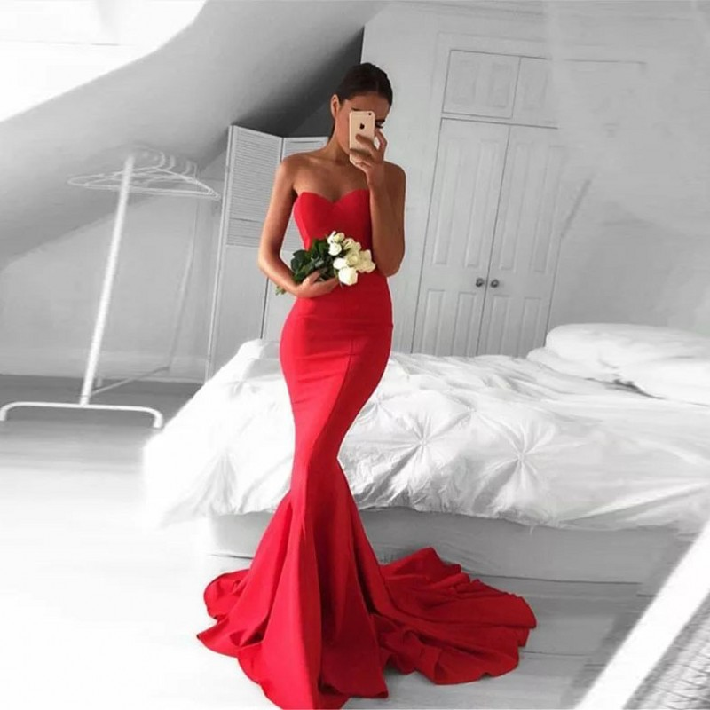 robe de soiree Off Shoulder   Evening     Dress   Custom Made Formal   Dresses   Red Sweetheart   Evening   Gowns Elegant Long abiye 2019