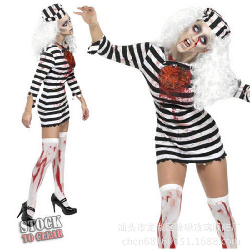 2018 new Bloody Female Prisoners Costume with Hat Cosplay Dress Party Carnival high quality Adult Women Ghost Halloween Costumes