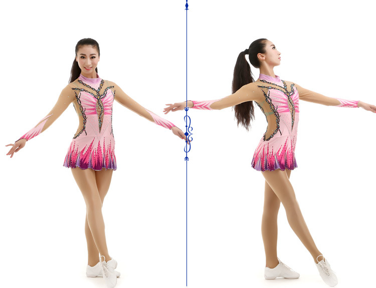1 set בנות מעודדות אחיד מקצועי התעמלות אמנותית תחרות אחיד בגד גוף