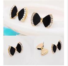 New fashion Imitation diamonds black bow style earrings 4ED84
