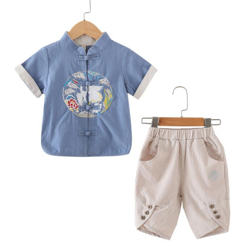 Chinese Style Summer Retro Tang Suit Boys T-shirt +Shorts Girls Embroidery Tops Children Cotton&Linen Clothing For 2-10T Kids цены онлайн