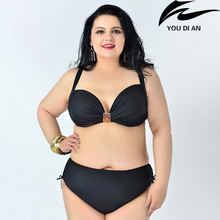fat swimear plug size solid bikini swimsuit large size Europe Russian Swimming suit beachwear