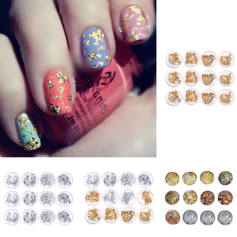 12 Pots New Fashion Nail Art Gold Silver Paillette Flake Foil ...