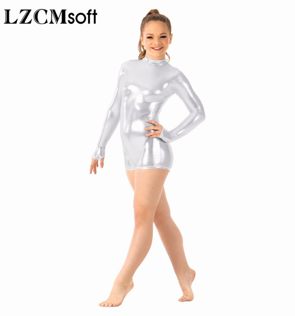 fbacaa7ec Товар LZCMsoft Child Gold Long Sleeve Shorty Unitard Girls Shiny ...