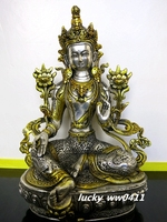 Pure copper, Tibetan Buddhism, Green Tara statue, bronze sculpture of Buddha, buddhist figure, Bodhisattva Tara figurine~
