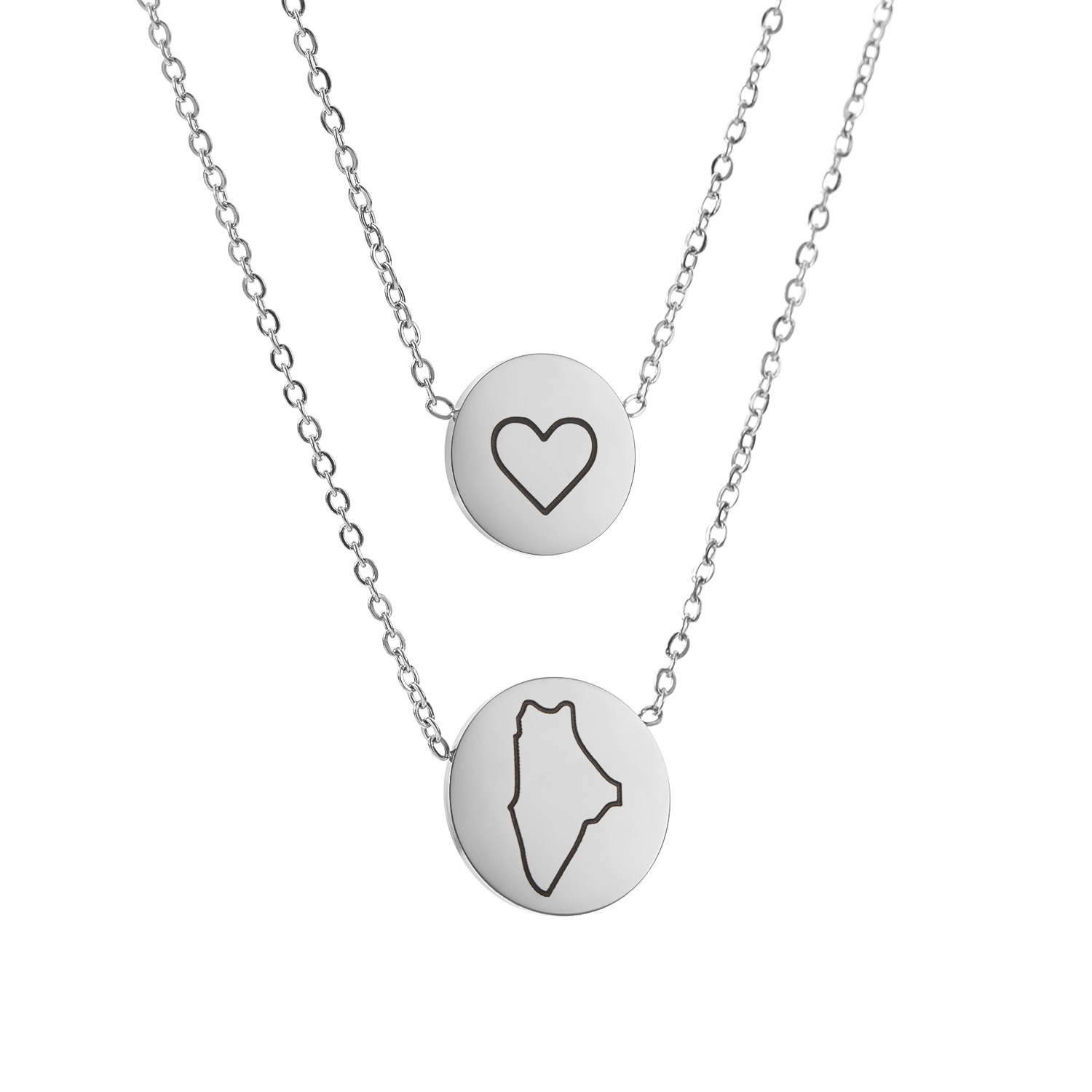 Titanium Steel Silver Color Simple Map States of USA Love Initial ...