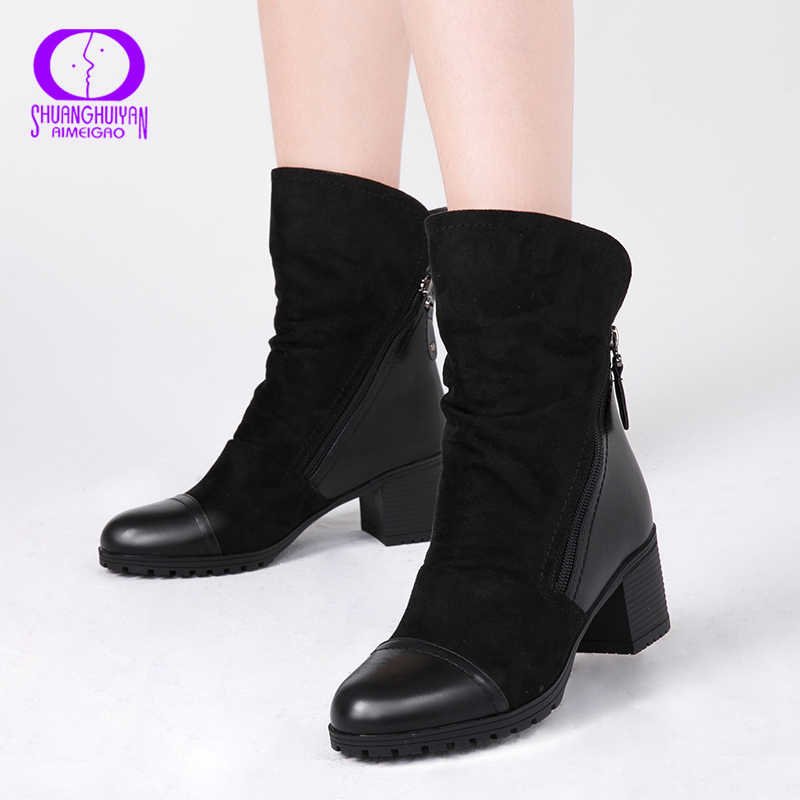 AIMEIGAO Double Zippers Black Ankle Boots Women Autumn Winter Suede Leather Boots Women High Heels Thick Soles Basic Botas Mujer