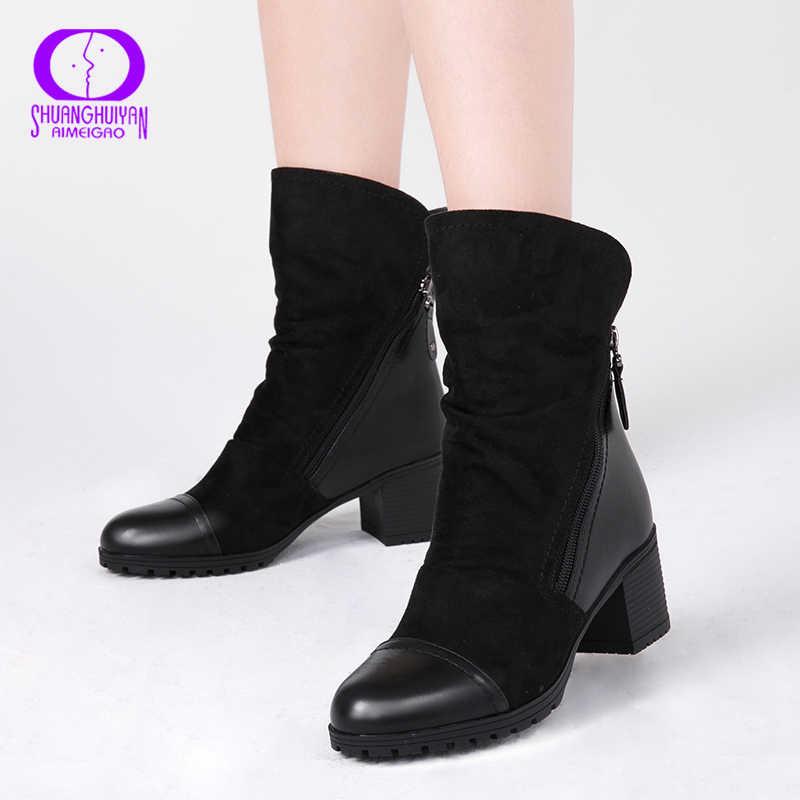 AIMEIGAO Double Zippers สีดำข้อเท้ารองเท้าผู้หญิงฤดูใบไม้ร่วงฤดูหนาวหนังนิ่มหนังรองเท้าผู้หญิงรองเท้าส้นสูงหนา Basic Botas Mujer