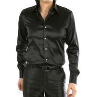 Loldeal Long Sleeve Casual Loose Silk Shirt Men's Wedding Dress Shirt Thin Plus Size Male Wedding Dress Shirts Solid 21 Color