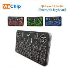 Q9 Bluetooth Wireless Keyboard 3 Colorful Backlight Touchpad Keyboard for Android/Windows/Google Smart Tv Air Mouse(China)