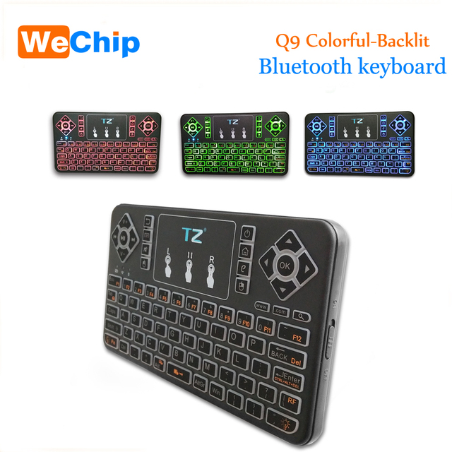 17de10edf09 Q9 Bluetooth Wireless miniKeyboard 3 Colorful Backlight Mouse Touchpad  Remote controller for Android/Windows/
