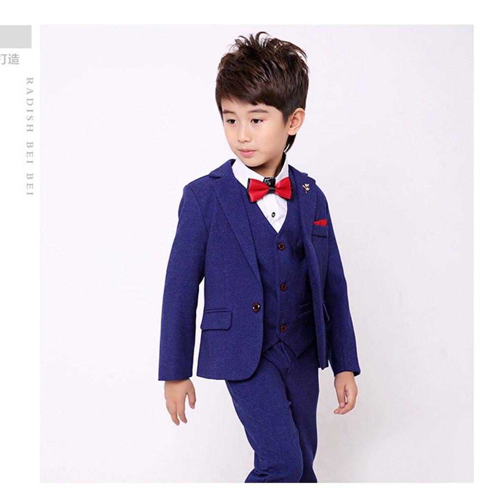 Brosche 6 Teile/los Kinder Baumwolle Lange Hülse Formale Sets Für Hochzeiten Partei Jungen Solide Blazer Anzüge Jacke Tie Weste Bluse Pants