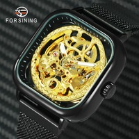 FORSINING Royal Golden Watch Men Auto Mechanical Hip Pop Mens Watches Top Brand Luxury Carved Skeleton Magnet Strap Wristwatch