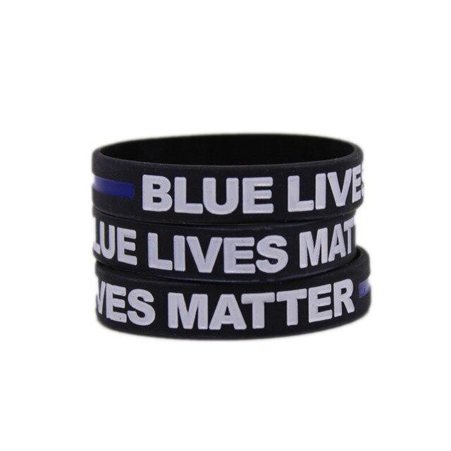46fe1ba8c0c4 Silicona delgada línea azul pulsera azul policía vive Apoyo de Policía  pulsera marca ley