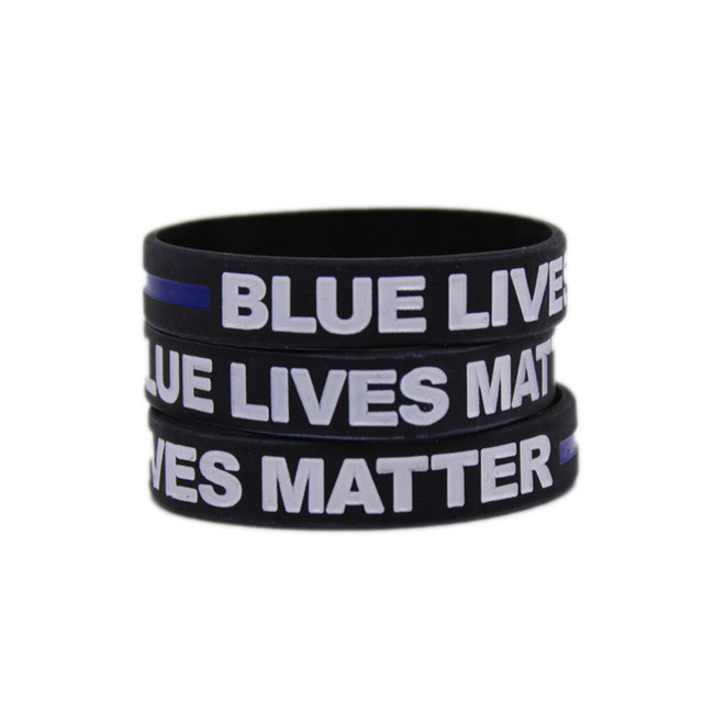 Silicone Thin Blue Line Bracelet Police Lives Matter Support Wristband Wrist Brand Law Enforcement