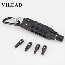VILEAD Mini LED Multi Screwdriver Sets EDC Tool Slot Hex Phillips Opener Outdoor Keyring Pocket Pendant Portable Stainless Steel