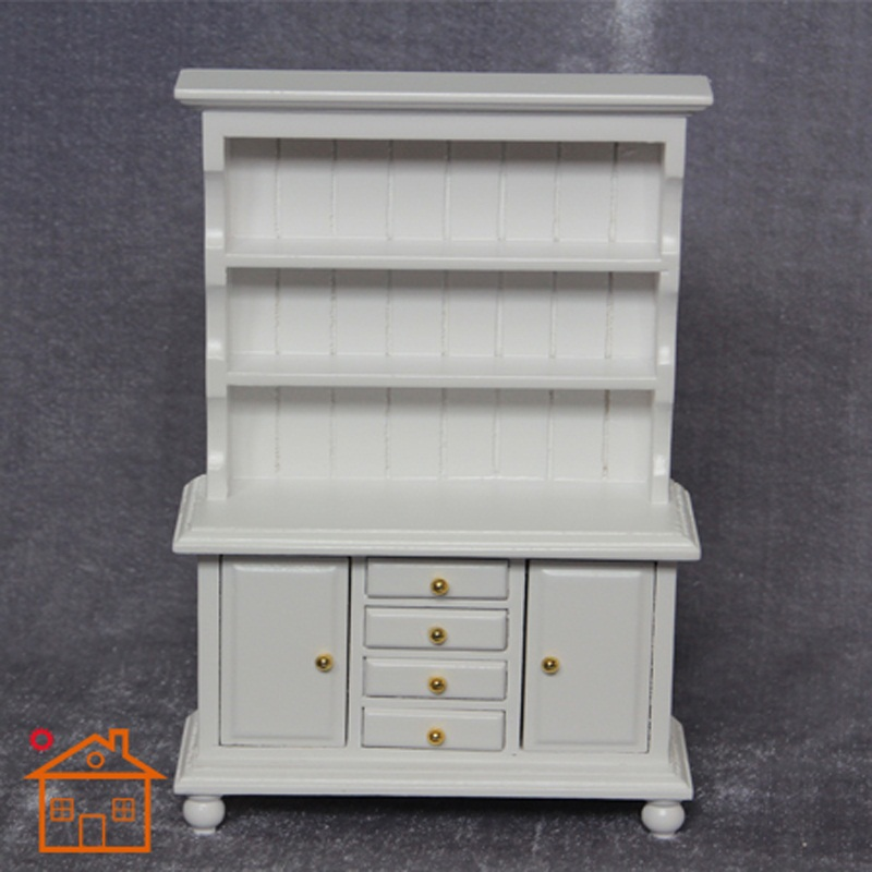 Display Cupboard Cabinet 3layer Wooden Miniature Dollhouse 1 12