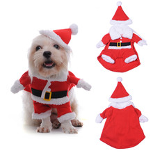 New Cosplay 3D Costume Christmas Santa Claus Pets Dog Cat Clothes Pet Puppy Overalls Dog Coat Leather Jacket Coupled with a Hat