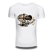 DY 85 Punk Music Style 3D Printer Mens T shirts Trendy Leisure Baritone Tee shirts White