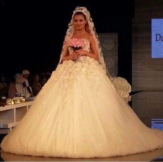 Elegant Design Strapless Floral Bodice Beaded Pearls Puffy Ball Gown ...