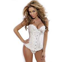 Women Sexy Satin Corset Brocade Floral Bustier Top Lace Up Back Lingerie Bodyshaper Shapewear Waist Exercise