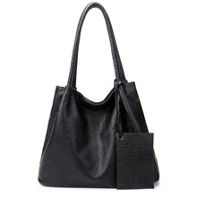 PU Leather Women Shoulder Bag Big Size Female Casual Large Bags Luxury Design Black Tote Bag For Office Lady High Quality Bolsas graceful pu leather and metal design tote bag for women