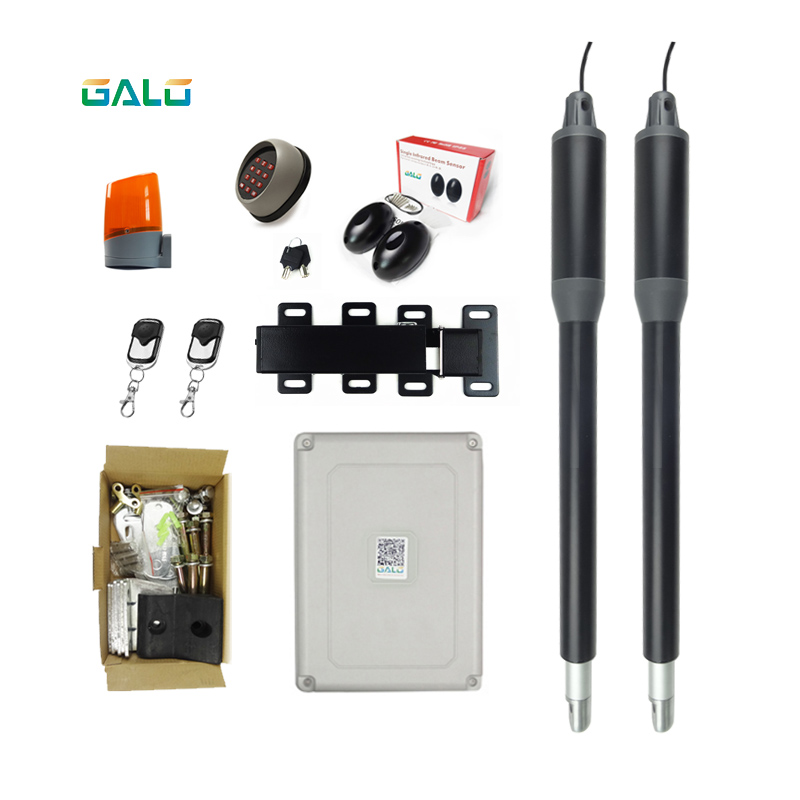 Aluminum Automatic Swing Gate DOOR Opener Operator kits with 24VDC OUTDOOR WATERPROOF Electric Lock drop bolt lpsecurity 100kg weight inward automatic swing door opener swing door operator closer keypad door lock ir sensor
