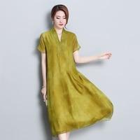 New 2018 Summer Autumn Vintage Style Chiffon Silk Dress Female Elegant V neck Short Sleeve Ladies Vestidos Plus Size M 4XL