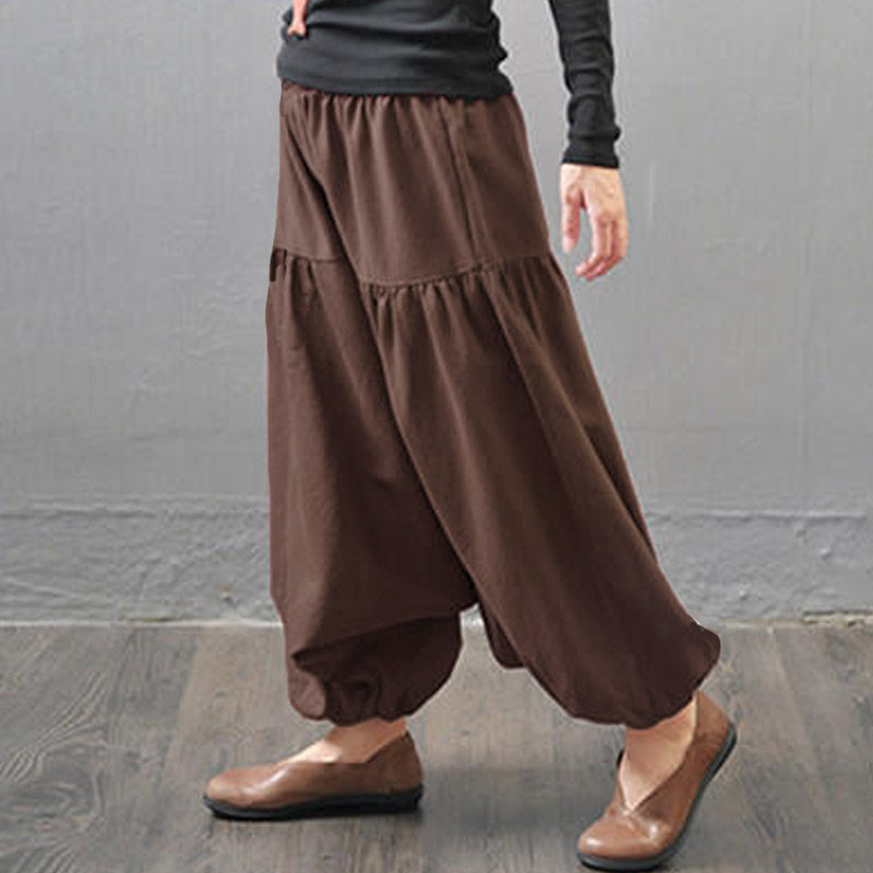 Zanzea Baggy Loose Drop-Crotch Long Pantalon Mid Elastic Waist Cotton Linen Harem Pants Women Autumn Solid Basic Casual Pantalon