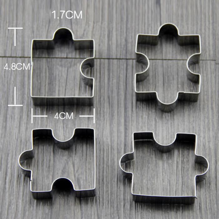 4Pcs/Set Baking Tools Biscuit Mould Stainless Steel Puzzle Piece ...